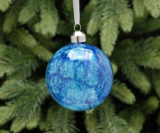 Blue marble effect bauble